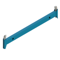 Ригель  горизонтальный элемент служит для обвязки и фиксации стоек обеспечивает их строго вертикальное положение за счет клинового узла